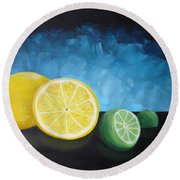 Lemon Lime Round Beach Towel