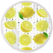 Lemon  Round Beach Towel by Mark Ashkenazi