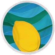 Lemon Slice Round Beach Towel