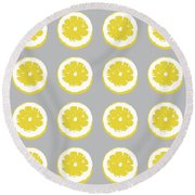 Lemon Slices On Grey- Art By Linda Woods Round Beach Towel