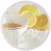 Round Beach Towel featuring the photograph Lemon Tea by Lyn Randle