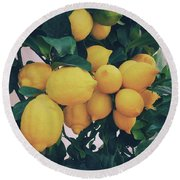 Lemon Tree Round Beach Towel by Happy Home Artistry