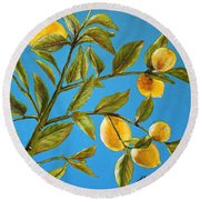 Lemon Tree Round Beach Towel by Marna Edwards Flavell