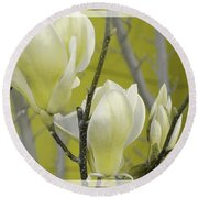 Round Beach Towel featuring the photograph Lemon Yellow by Athala Carole Bruckner