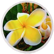 Round Beach Towel featuring the photograph Lemon Yellow Plumeria by Sue Melvin
