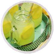 Lemonade In Blue Tray Round Beach Towel