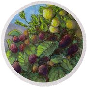 Lemons And Berries Round Beach Towel by Laurie Morgan