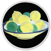 Lemons And Limes In Bowl Round Beach Towel