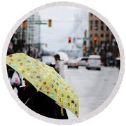 Round Beach Towel featuring the photograph Lemons And Rubber Boots  by Empty Wall