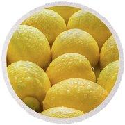 Lemons Lemons Lemons Round Beach Towel