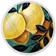 Round Beach Towel featuring the painting Lemons by Maria Langgle