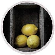 Lemons Still Life Round Beach Towel
