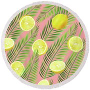 Lemons Round Beach Towel by Uma Gokhale