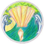 Round Beach Towel featuring the drawing Lemuria Atlantis by Kim Sy Ok