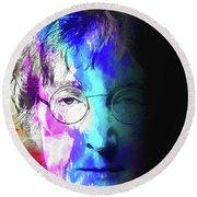 Round Beach Towel featuring the digital art Lennon by John Haldane