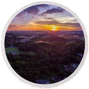 Lenoir North Carolina  Sunset Round Beach Towel