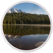 Lenticular Cloud At Reflection Lake Round Beach Towel