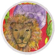 Round Beach Towel featuring the painting Leo by Cathie Richardson