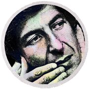 Leonard Cohen - Drawing Tribute Round Beach Towel by Ian Gledhill