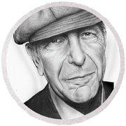 Leonard Cohen Round Beach Towel