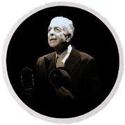 Portrait Of Leonard Cohen Round Beach Towel