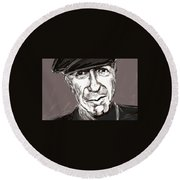 Round Beach Towel featuring the painting Leonard Cohen  by Jim Vance