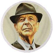 Leonard Cohen Round Beach Towel by Sergey Lukashin