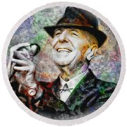 Leonard Cohen - Tribute Painting Round Beach Towel