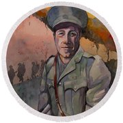 Round Beach Towel featuring the painting Leonard Keysor Vc by Ray Agius