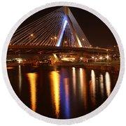 Leonard P. Zakim Bunker Hill Bridge Reflection 2 Round Beach Towel