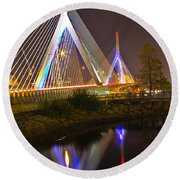 Leonard P. Zakim Bunker Hill Bridge Reflection Round Beach Towel