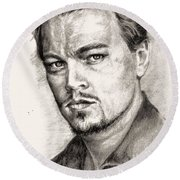 Leonardo Dicaprio Portrait Nr.2 Round Beach Towel