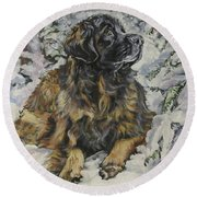 Leonberger In The Snow Round Beach Towel