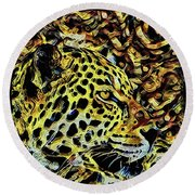 Round Beach Towel featuring the painting Leopard Abstract  by David Mckinney