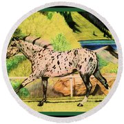 Leopard Appaloosa - Dream Horse Series Round Beach Towel by Cheryl Poland
