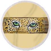 Leopard Eyes Round Beach Towel