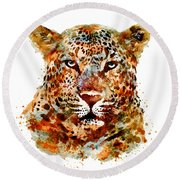 Leopard Head Watercolor Round Beach Towel