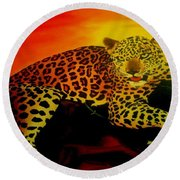 Leopard On A Tree Round Beach Towel