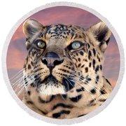 Leopard Portrait Number 3 Round Beach Towel
