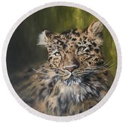 Leopard Relaxing Round Beach Towel by Jean Walker