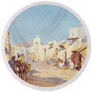 Round Beach Towel featuring the photograph Leopold Carl Muller 1887 by Munir Alawi