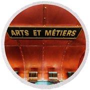 Les Arts Et Metiers, Metro Station, Paris, France. Round Beach Towel