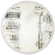Les Paul Guitar Patent 1955 Round Beach Towel