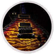 Tri-burst Quilt Top Guitar Spotlight Series Round Beach Towel