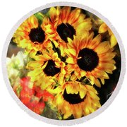 Les Tournesols Round Beach Towel by Jack Torcello