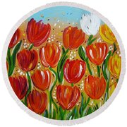 Round Beach Towel featuring the painting Les Tulipes - The Tulips by Gioia Albano