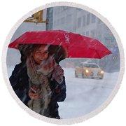 L Esprit De New York - Winter In New York Round Beach Towel