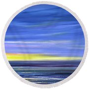 Less Drama Panoramic Sunset Round Beach Towel