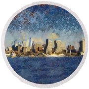 Round Beach Towel featuring the mixed media Less Wacky Philly Skyline by Trish Tritz
