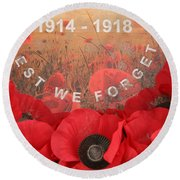 Lest We Forget - 1914-1918 Round Beach Towel